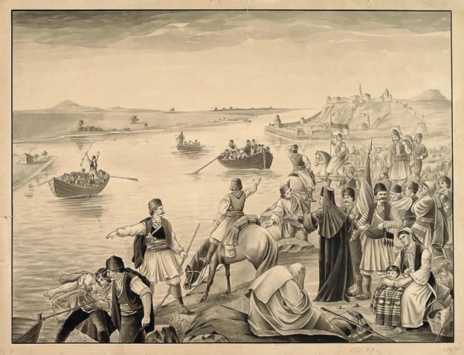 Srbi-prelaze-Dunav-1690.-godine-tokom-Prve-velike-seobe-u-Austriju.-Ovo-je-crtez-tusem-Franca-Juze-670x513